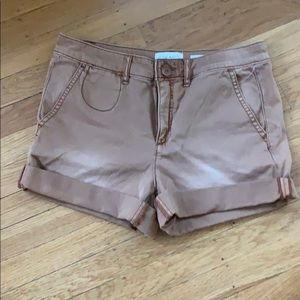 Anthropologie washed brown chino shorts.